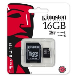 8GB microSD-HC карта памяти KINGSTON  Class 10 UHS-I с SD адаптером